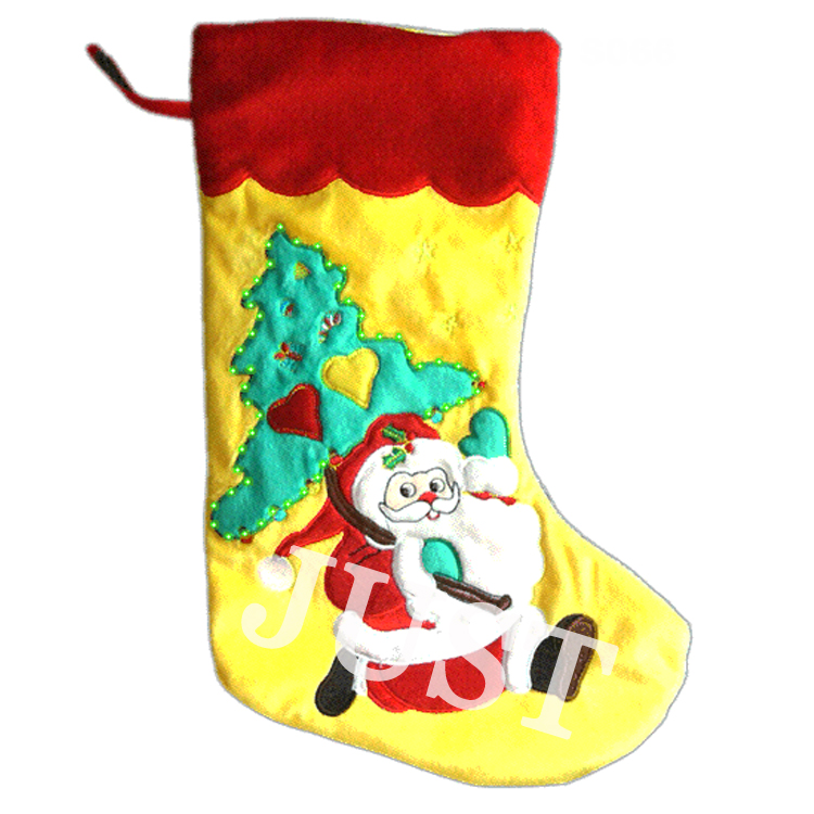 Fiber optic christmas stocking with fireplace JTH1119